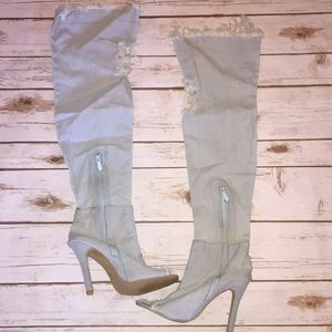 Shoes - NWOT Thigh High Over The Knee Denim Heels